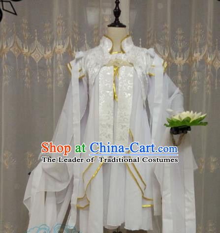 Chinese Ancient Princess Costume Cosplay Swordswoman Clothing Tang Dynasty Young Lady White Hanfu Dress for Women