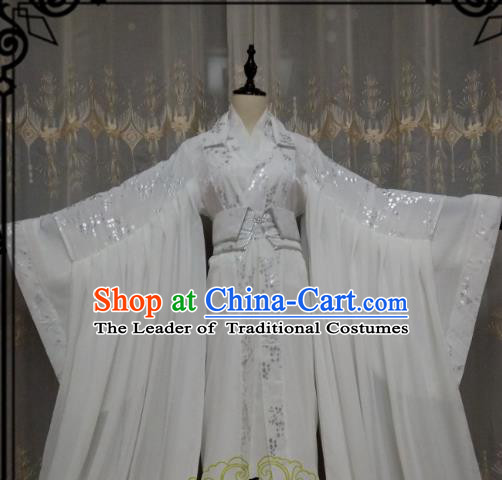 Chinese Ancient Fairy Costume Cosplay Swordswoman Clothing Knight Princess White Hanfu Dress for Women