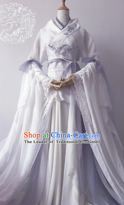 Chinese Ancient Cosplay Queen Costume Han Dynasty Empress Embroidered White Hanfu Dress for Women