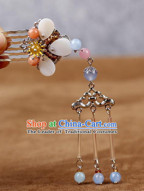 Chinese Traditional Handmade Hair Accessories Ancient Hairpins Hanfu Tassel Hair Comb for Women
