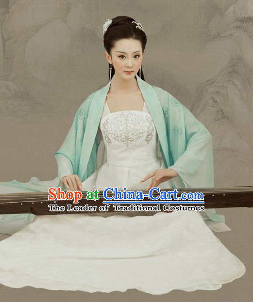 Traditional Chinese Ancient Palace Lady Dress Tang Dynasty Princess Embroidered Costume and Headpiece for Women