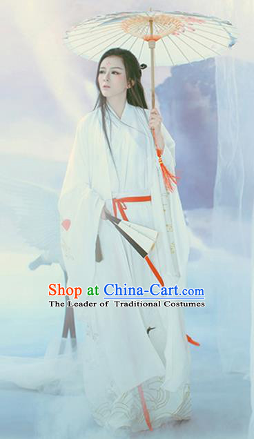 Traditional Chinese Ancient Swordswoman Hanfu Dress Jin Dynasty Princess Embroidered Costume for Women