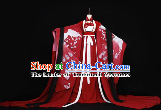 Chinese Ancient Cosplay Fairy Red Costume Han Dynasty Princess Embroidered Hanfu Dress for Women