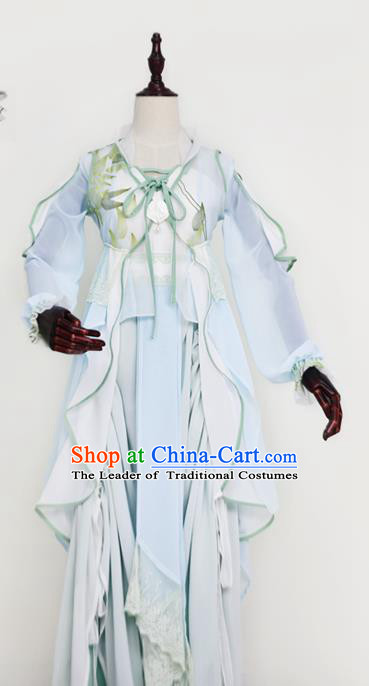 Chinese Ancient Cosplay Swordswoman Costume Tang Dynasty Court Maid Embroidered Hanfu Dress for Women