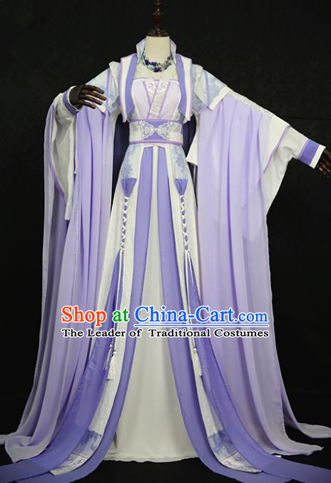 Chinese Ancient Cosplay Princess Costume Tang Dynasty Palace Lady Embroidered Purple Hanfu Dress for Women