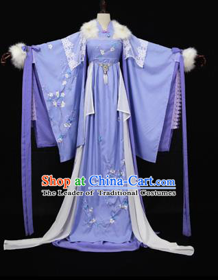 Chinese Ancient Cosplay Queen Swordswoman Costume Han Dynasty Imperial Consort Embroidered Hanfu Dress for Women