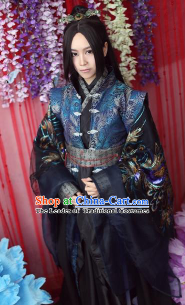 Chinese Ancient Cosplay King Swordsman Embroidered Costume Jin Dynasty Emperor Hanfu Clothing for Men