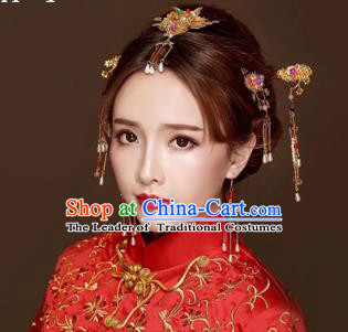 Chinese Traditional Handmade Bride Wedding Hair Accessories Ancient Hairpins Complete Set for Women