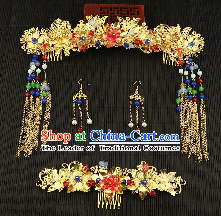 Chinese Traditional Handmade Wedding Phoenix Coronet Hair Accessories Ancient Hairpins Complete Set for Women