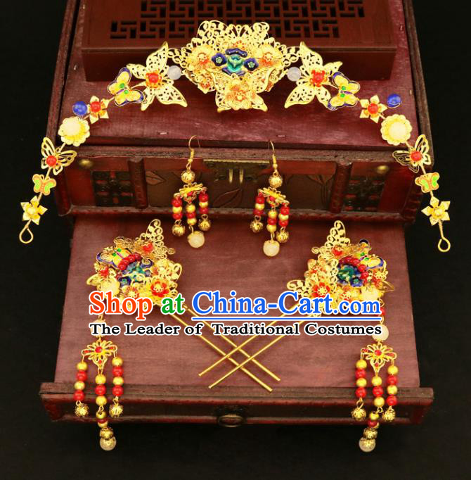 Chinese Traditional Hair Accessories Xiuhe Suit Handmade Blueing Hair Clasp Ancient Hairpins Step Shake for Women