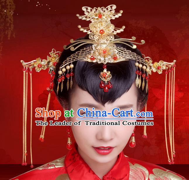 Chinese Traditional Xiuhe Suit Hair Accessories Phoenix Coronet Ancient Hairpins Complete Set for Women