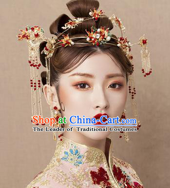 Chinese Traditional Xiuhe Suit Hair Accessories Red Tassel Hair Clasp Ancient Hairpins Complete Set for Women