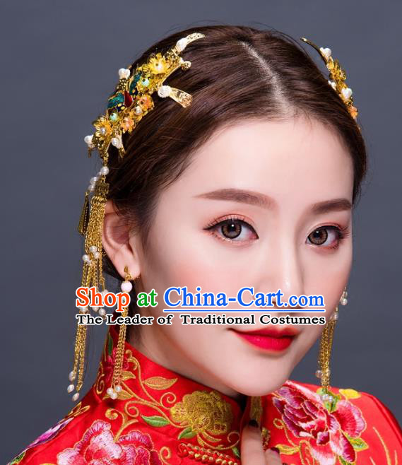 Chinese Traditional Handmade Hair Accessories Ancient Hairpins Xiuhe Suit Hair Combs Complete Set for Women