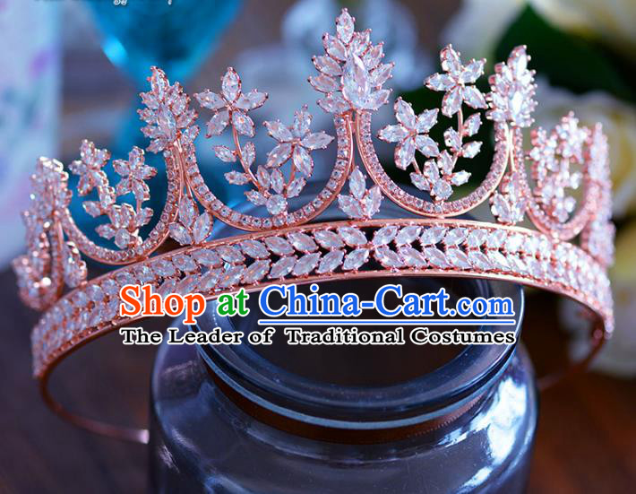 Baroque Style Hair Jewelry Accessories Bride Crystal Zircon Royal Crown Princess Hair Clasp for Women