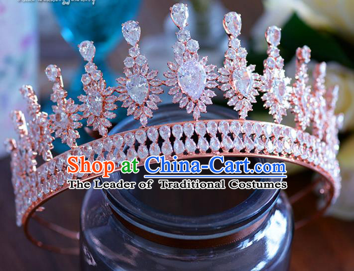 Baroque Style Hair Jewelry Accessories Bride Zircon Royal Crown Princess Crystal Hair Clasp for Women