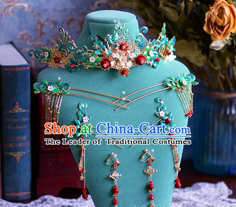 Chinese Traditional Handmade Hair Accessories Ancient Phoenix Coronet Hairpins Complete Set for Women