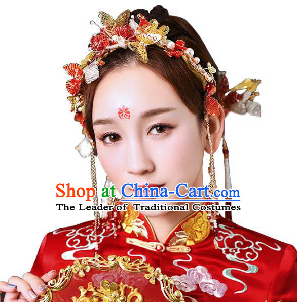 Chinese Traditional Handmade Hair Accessories Ancient Butterfly Phoenix Coronet Hairpins Complete Set for Women
