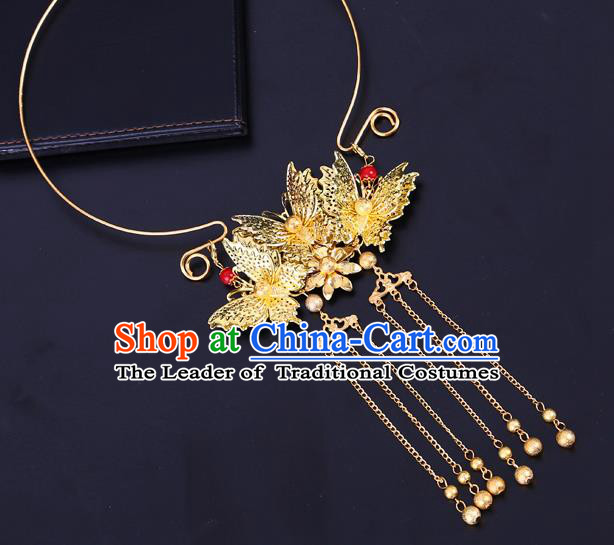 Traditional Chinese Jewelry Accessories Necklace Ancient Hanfu Golden Butterfly Necklet for Women