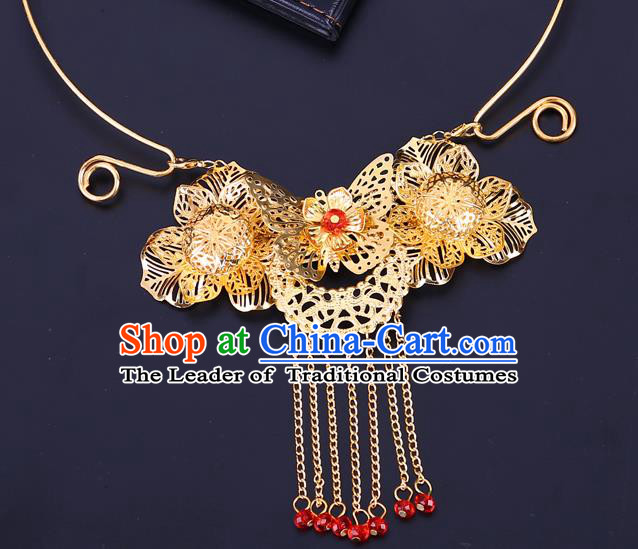 Traditional Chinese Jewelry Accessories Necklace Ancient Hanfu Golden Flowers Necklet for Women