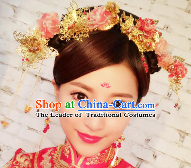 Chinese Traditional Handmade Hair Accessories Ancient Hairpins Xiuhe Suit Flowers Hair Clips Complete Set for Women