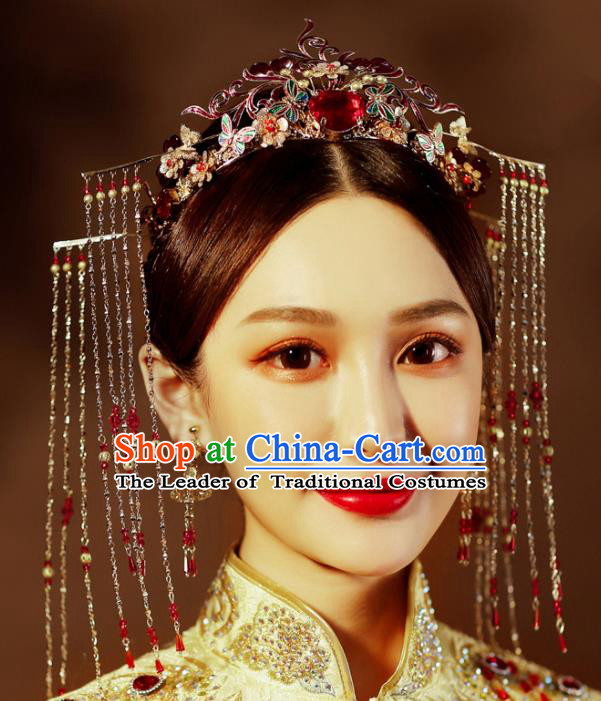 Chinese Traditional Wedding Xiuhe Suit Hair Accessories Tassel Phoenix Coronet Ancient Hairpins Complete Set for Women