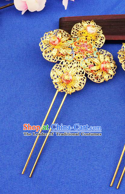 Chinese Traditional Xiuhe Suit Hair Accessories Ancient Bride Hairpins for Women