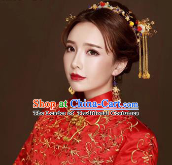 Chinese Traditional Handmade Hair Accessories Bride Xiuhe Suit Hair Clasp Ancient Hairpins Complete Set for Women