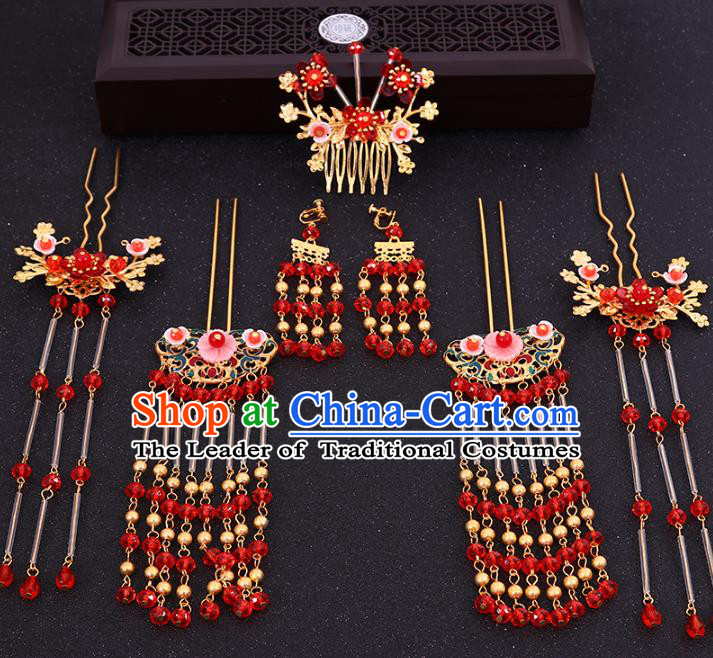 Chinese Traditional Xiuhe Suit Hair Accessories Ancient Hair Combs Hairpins Complete Set for Women