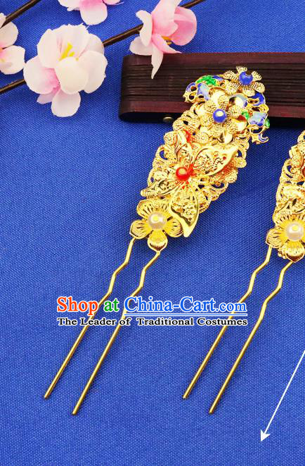 Chinese Traditional Xiuhe Suit Hair Accessories Golden Hair Clips Ancient Bride Hairpins for Women