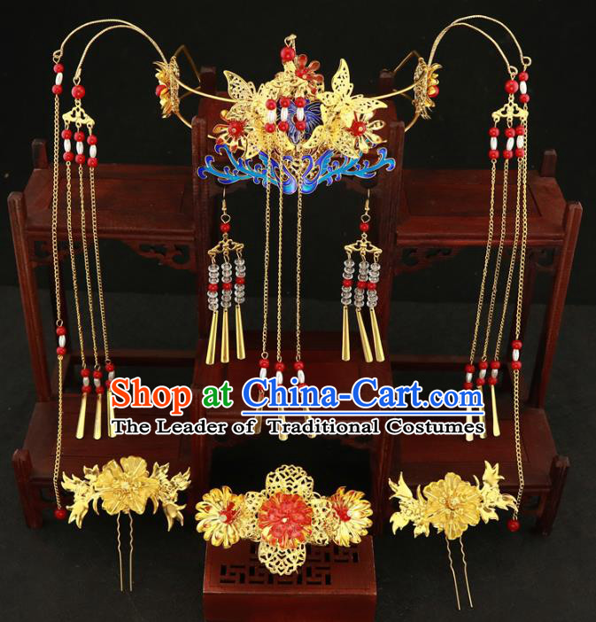 Chinese Traditional Xiuhe Suit Hair Accessories Ancient Empress Blueing Phoenix Coronet Hairpins Complete Set for Women