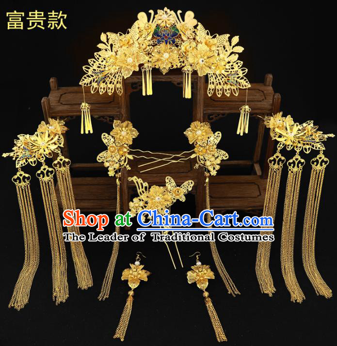 Chinese Traditional Xiuhe Suit Hair Accessories Complete Set Ancient Empress Blueing Phoenix Coronet Hairpins for Women