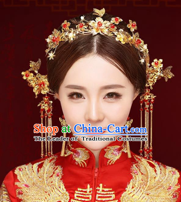 Chinese Traditional Xiuhe Suit Hair Accessories Complete Set Ancient Phoenix Coronet Hairpins for Women