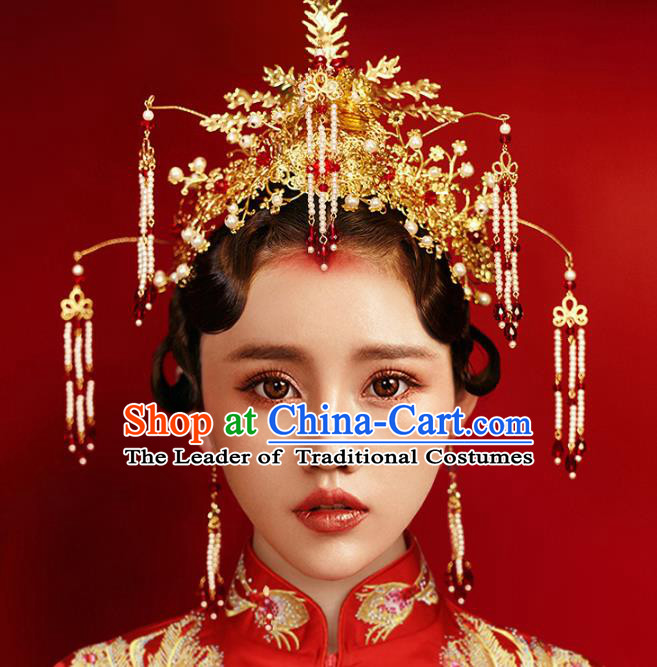 Chinese Traditional Hair Accessories Pearls Tassel Phoenix Coronet Ancient Xiuhe Suit Hairpins Complete Set for Women