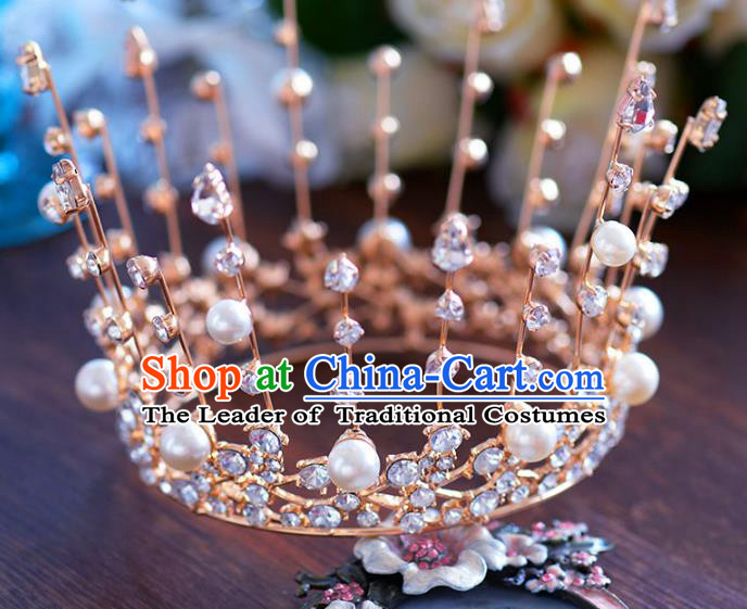 Baroque Style Hair Jewelry Accessories Bride Royal Crown Princess Round Imperial Crown Hair Clasp for Women