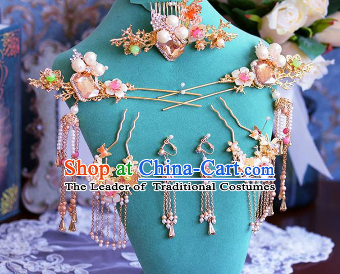 Chinese Ancient Handmade Hair Accessories Traditional Xiuhe Suit Hair Comb Tassel Hairpins for Women