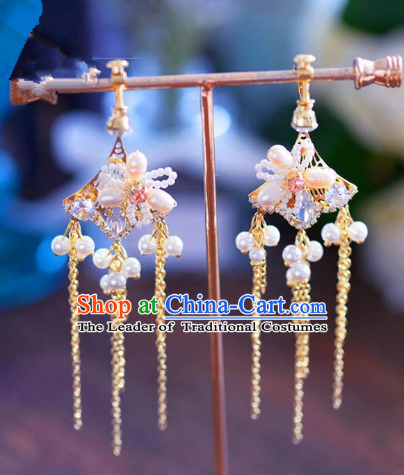Chinese Handmade Jewelry Accessories Ancient Hanfu Pearls Tassel Earrings for Women