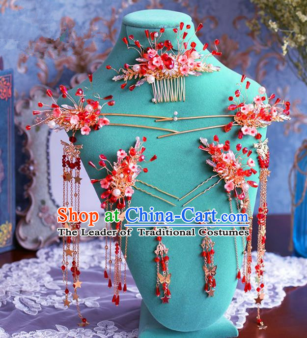 Chinese Ancient Handmade Hair Accessories Traditional Xiuhe Suit Red Beads Hair Comb Tassel Hairpins for Women