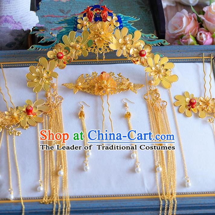 Chinese Ancient Handmade Palace Phoenix Coronet Hair Accessories Tassel Hair Clips Traditional Hairpins Complete Set for Women