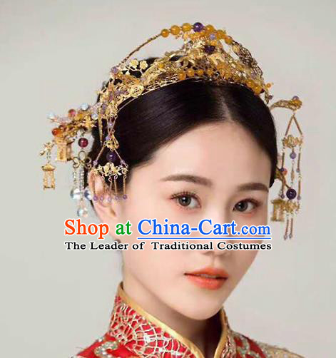 Chinese Ancient Handmade Palace Hair Accessories Phoenix Coronet Traditional Hairpins Complete Set for Women