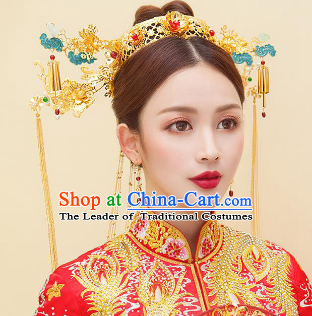 Chinese Ancient Handmade Palace Cloisonne Tassel Phoenix Coronet Step Shake Hair Accessories Traditional Hairpins for Women