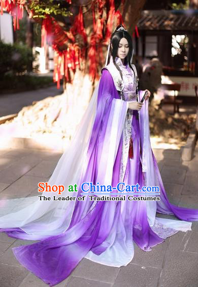 Ancient Chinese Cosplay Swordsman Purple Hanfu Clothing Jin Dynasty Knight Nobility Childe Costumes for Men