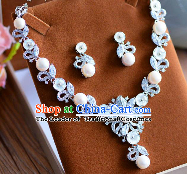 Top Grade Handmade Wedding Jewelry Accessories Pearls Crystal Necklace and Earrings for Women