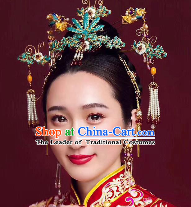 Chinese Ancient Handmade Palace Cloisonne Tassel Step Shake Traditional Hair Accessories Xiuhe Suit Hairpins for Women