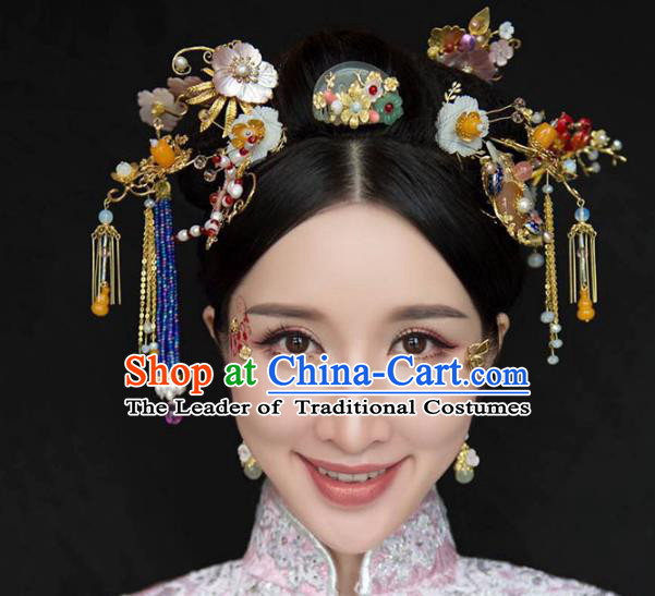 Ancient Chinese Handmade Traditional Hair Accessories Hairpins Jade Hair Comb Complete Set for Women