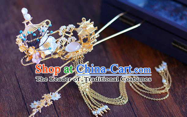 Ancient Chinese Handmade Hair Accessories Xiuhe Suit Hairpins Tassel Hair Clip for Women