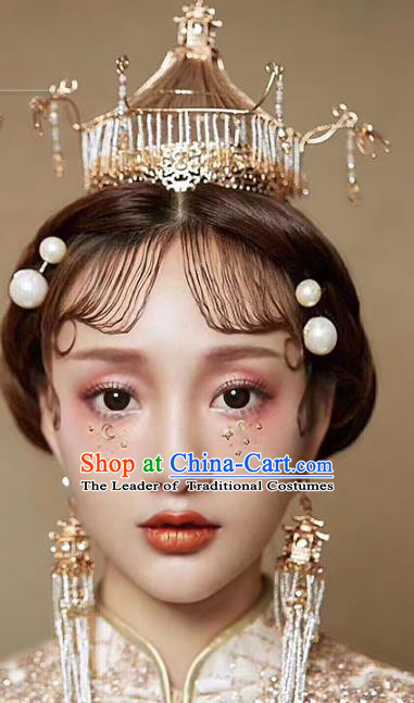 Ancient Chinese Handmade Hair Accessories Xiuhe Suit Hairpins Hair Crown Complete Set for Women