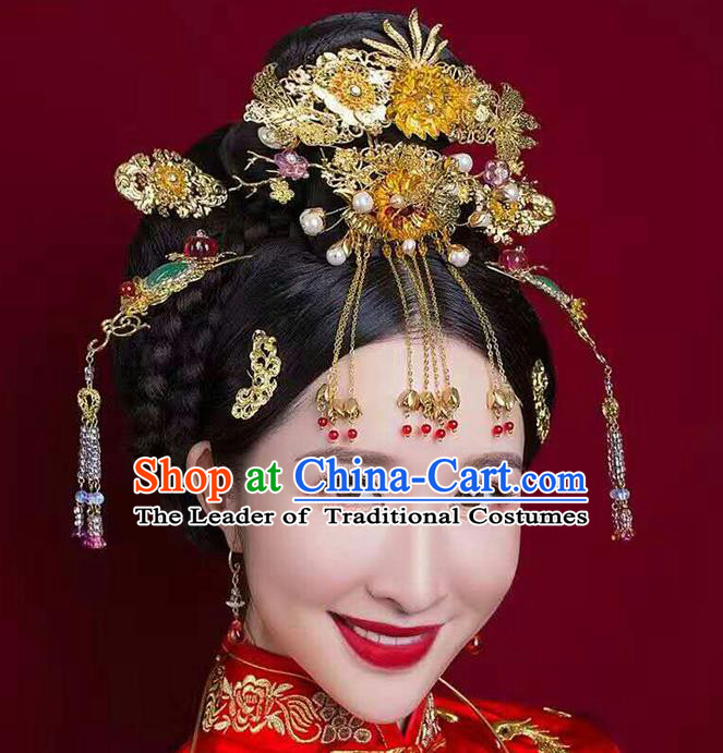 Ancient Chinese Handmade Classical Hair Accessories Bride Hairpins Phoenix Coronet Complete Set for Women