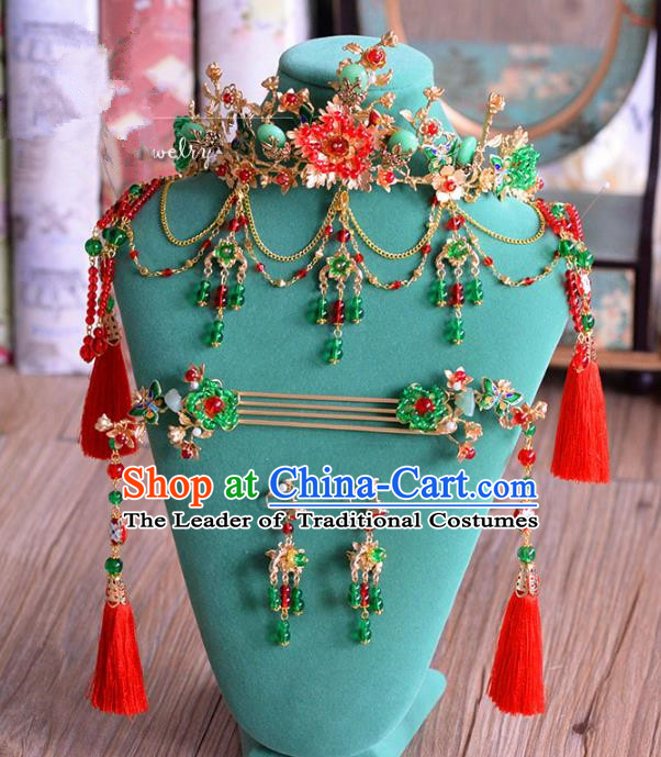 Ancient Chinese Handmade Classical Hair Accessories Palace Hairpins Phoenix Coronet Complete Set for Women