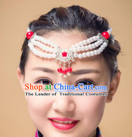 Traditional Chinese Mongol Nationality Dance Hair Accessories, Mongolian Minority White Beads Hair Clasp Headwear for Women