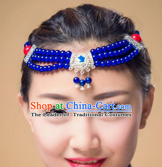 Traditional Chinese Mongol Nationality Dance Hair Accessories, Mongolian Minority Royalblue Beads Hair Clasp Headwear for Women